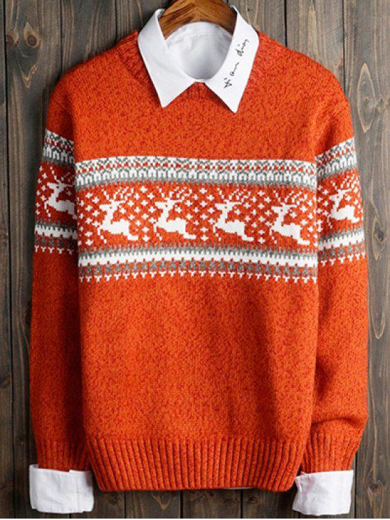 shop Deer and Geometric Pattern Crew Neck Long Sleeve Sweater - ORANGE XL