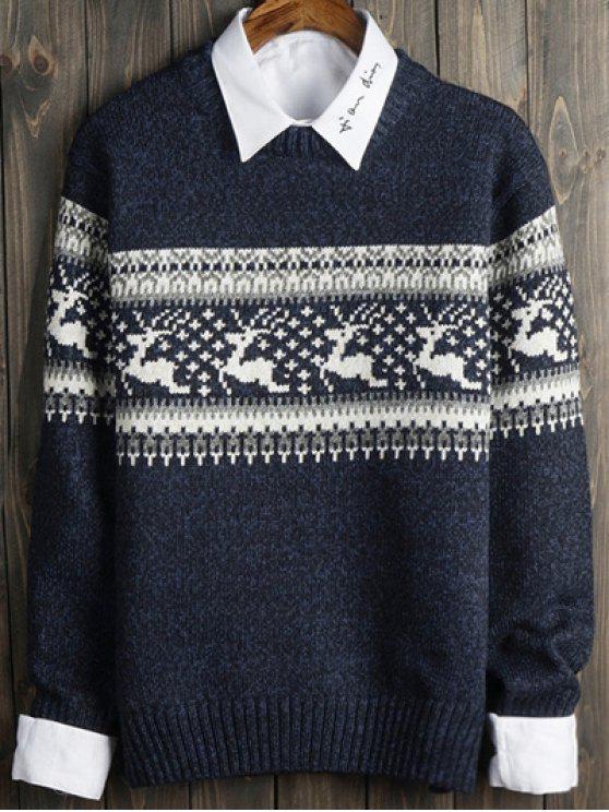 Suéter Cuello Redondo Estampado Ciervos Motivos Geométricos - Azul M