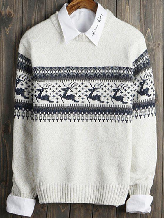 chic Deer and Geometric Pattern Crew Neck Long Sleeve Sweater - WHITE M