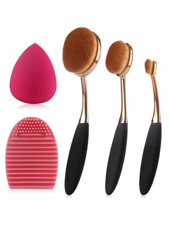 sale 3 Pcs Oval Toothbrush Makeup Brushes Set + Teardrop Makeup Sponge + Brush Egg - BLACK