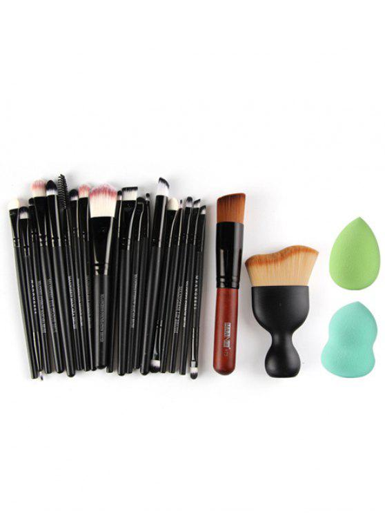 buy 22 Pcs Face Eye Makeup Brushes and Makeup Sponges - BLACK