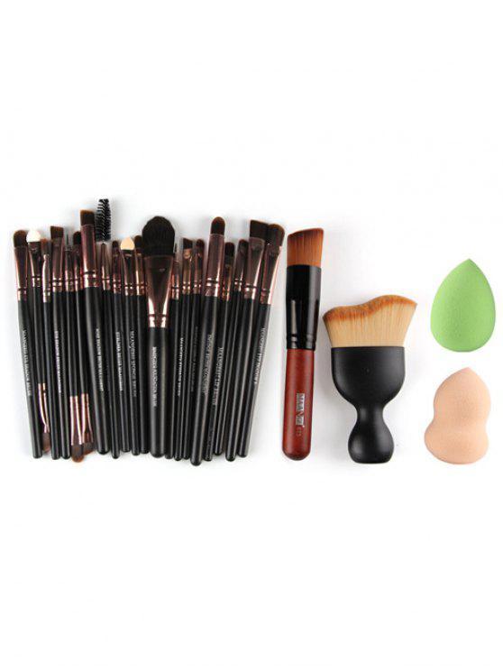 22 cepillos del maquillaje de las PC frente a los ojos y los mezcladores de belleza - Rosa de Oro