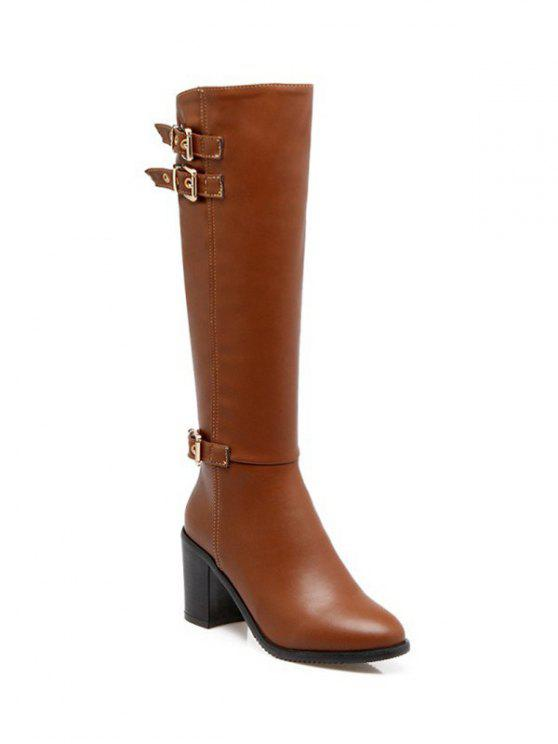 ladies Buckles Chunky Heel Zipper Boots - BROWN 38
