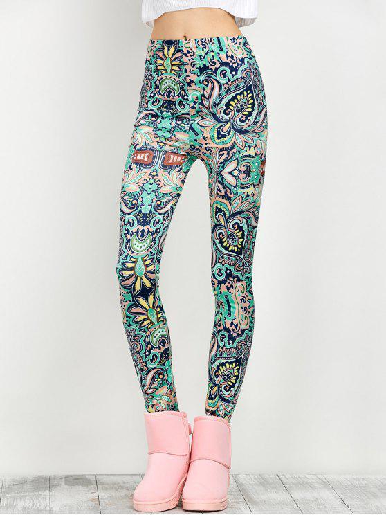 Tiro mediano flaco de impresión leggings - Floral M
