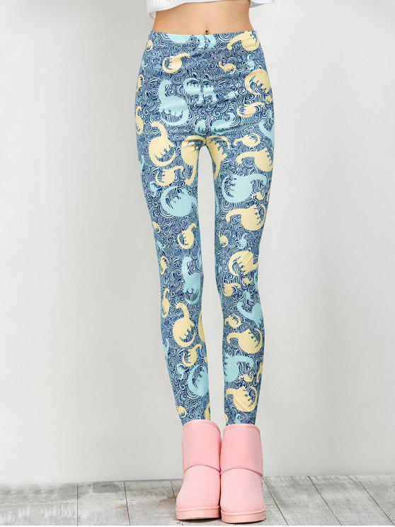 De altura media elástica de impresión leggings - Floral L