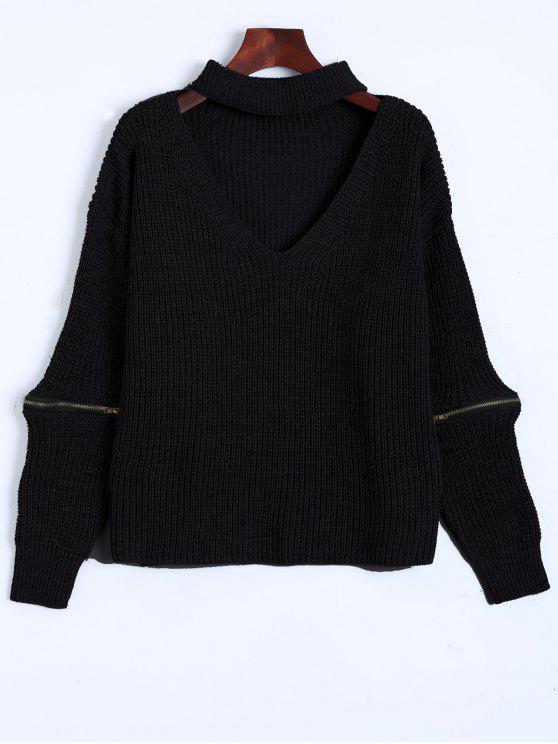 pull avec collier ras de cou à col V avec fermetures - Noir Taille Unique
