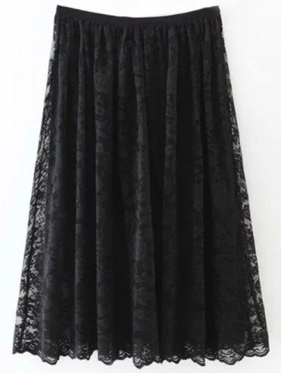 Jupe mi-longue plissée en dentelle - Noir S