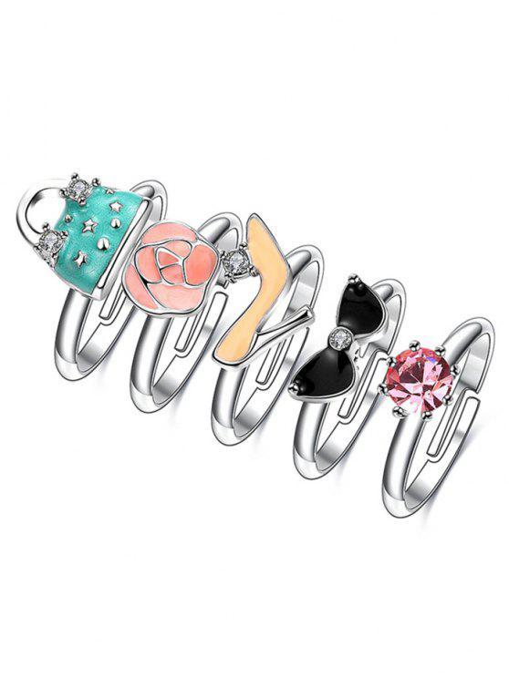 complet anneaux de rhinestone sac a main talon et rose - Argent 6