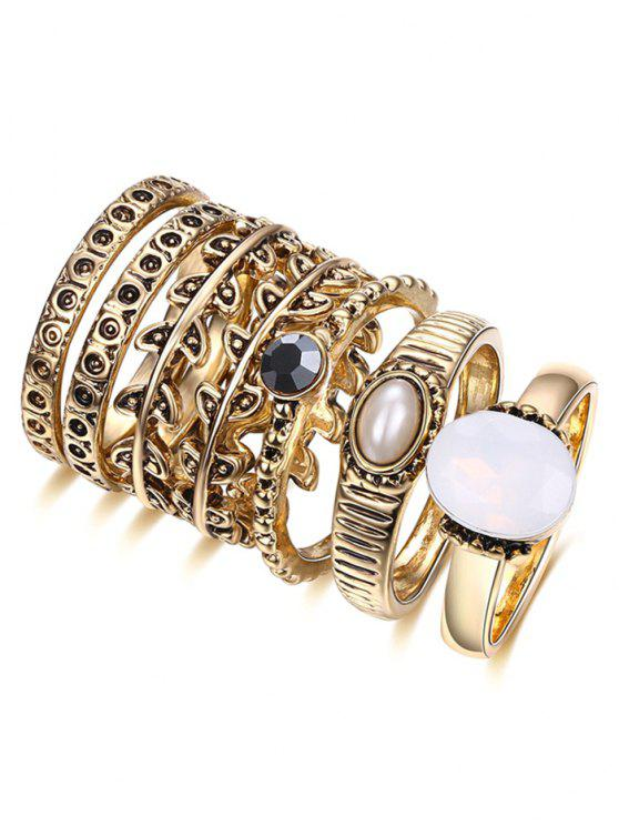 Perlas de imitación de la hoja Anillo Set - Dorado 7