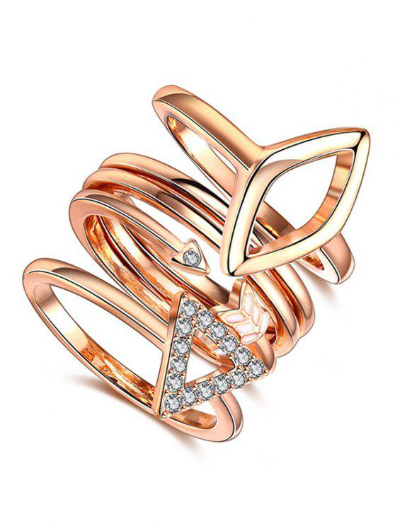 buy Triangle Rhinestone Ring Set - ROSE GOLD 7