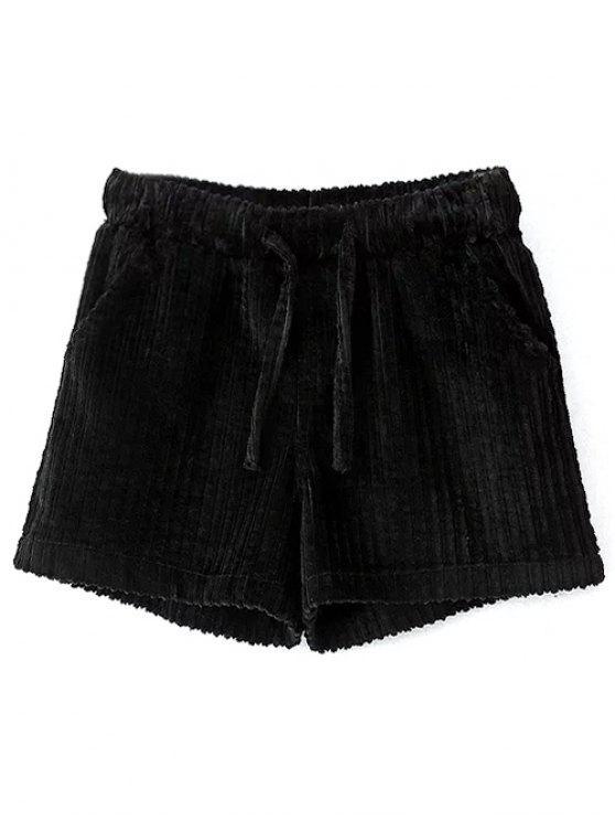 Short en velours côtelé avec lien coulissant - Noir L