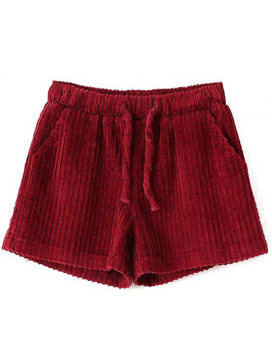 outfits Winter Corduroy Shorts - WINE RED S