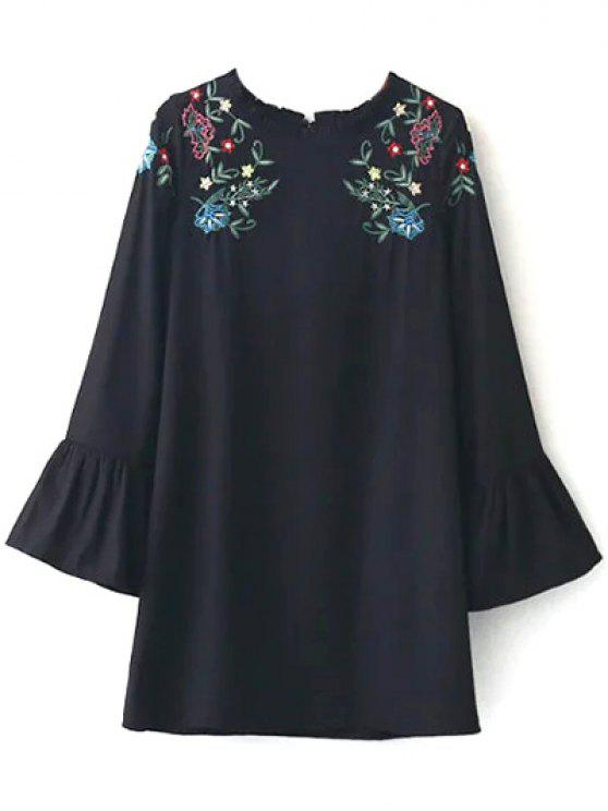 womens Frilled Embroidered Dress - BLACK S
