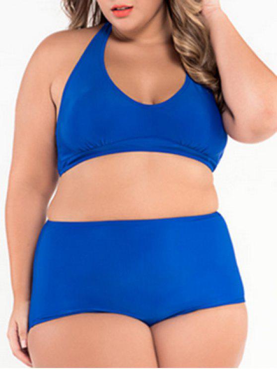 Halter Plus Size High Waisted Zwei Stück Bikini - Blau 2XL