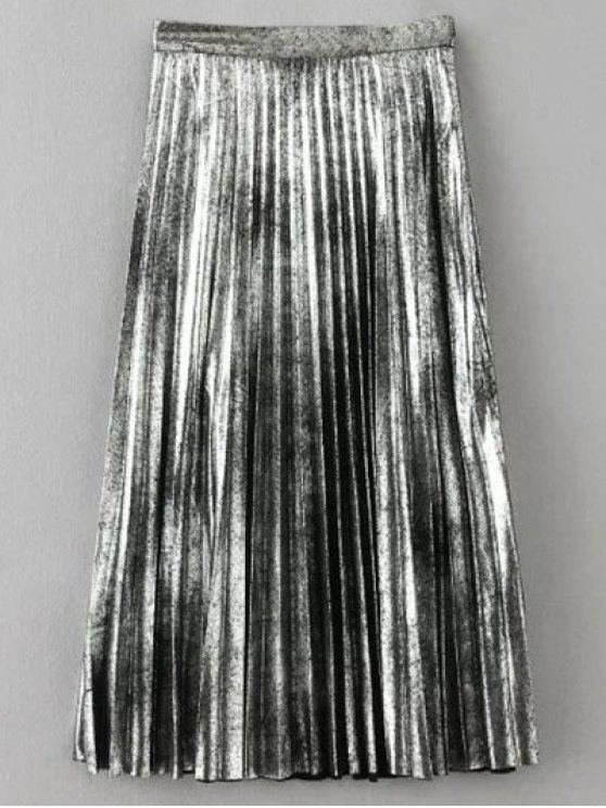 women Metallic Color Pleated Skirt - SILVER XS