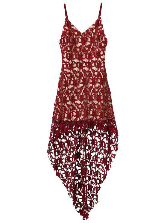 trendy High Low Crochet Dress - BURGUNDY L