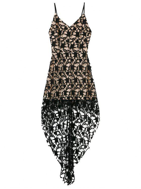 fancy High Low Crochet Lace Prom Dress - BLACK L