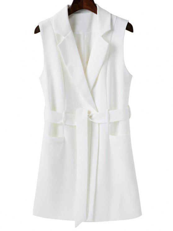 fashion Sleeveless Blazer - WHITE M