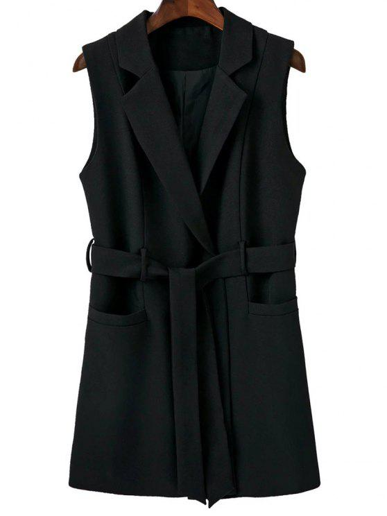 fancy Sleeveless Blazer - BLACK L