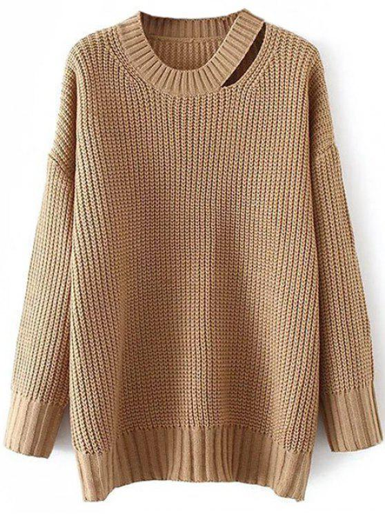 7cd952a46a8110 31% OFF] 2019 Round Neck Cut Out Jumper In KHAKI | ZAFUL English