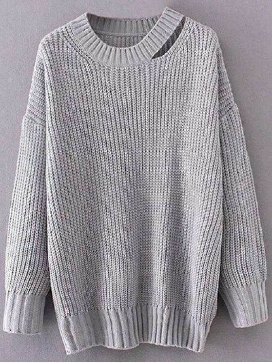 34102697b60e13 36% OFF] 2019 Round Neck Cut Out Jumper In GRAY | ZAFUL