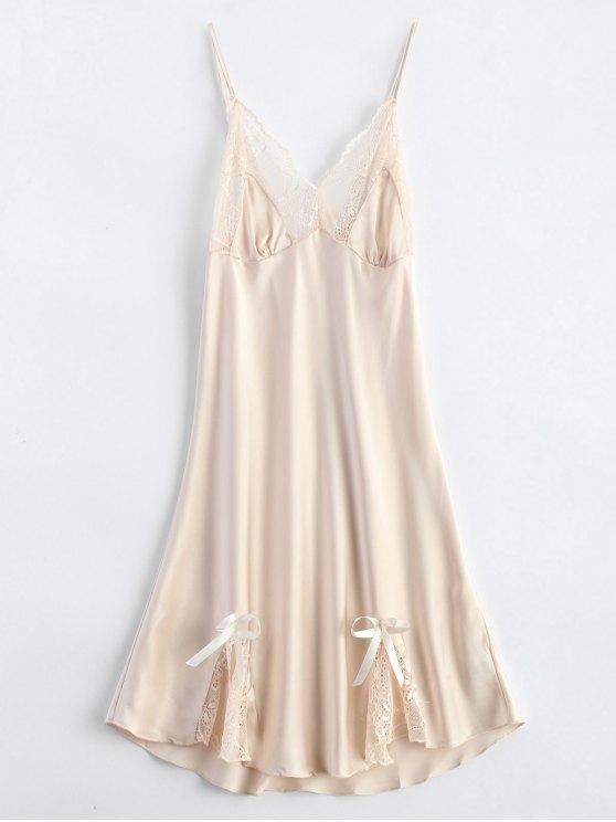 womens Bowknot Lace Panel Babydoll - APRICOT M