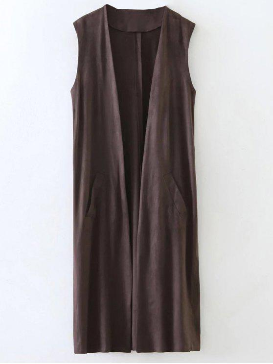 outfit Collarless Side Slit Suede Waistcoat - COFFEE M