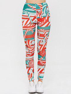 Pantalons Rayés Et Irisés à  Taille Haute  - Rouge L