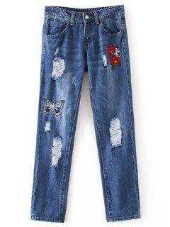 Pantalones Vaqueros Bordados Mariposa Rasgados  - Azul Denim M