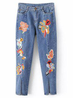 Pantalones Vaqueros Florales Bordados Corte En Pernera Talle Bajo - Azul Claro L
