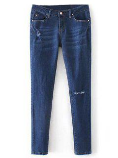 Low Rise Destroyed Cigarette Jeans - Denim Blue M