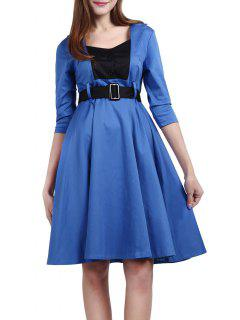 Belted High Waisted Swing Dress - Blue 3xl