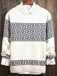 Curve Geometric Pattern Crew Neck Long Sleeve Sweater - White M