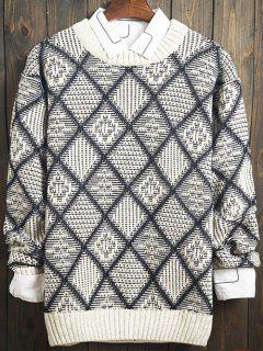 Argyle Pattern Crew Neck Long Sleeve Sweater - Gray 2xl