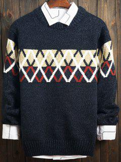 Color Block Argyle Crew Neck Long Sleeve Sweater - Blue 2xl