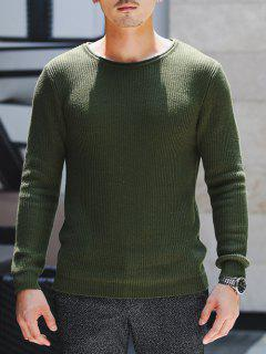 Round Neck Ribbed Knitted Pullover Sweater - Army Green M