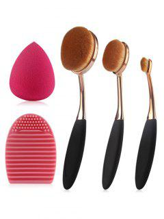 3 Pcs Brosses à Dents En Forme De Maquillage  + éponge De Maquillage En Forme De Larme + Brosse D'oeuf - Noir