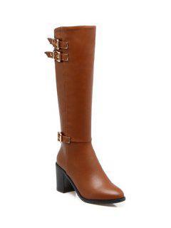 Buckles Chunky Heel Zipper Boots - Brown 38