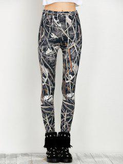 Elastic Waist Print Leggings - Floral M