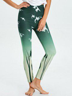 High Waist Skinny Ombre Print Leggings - Blackish Green M