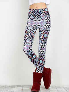 Elastic Waist Geometric Print Leggings - Floral M