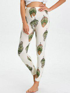 High Waist Skinny Leaf Print Leggings - White M