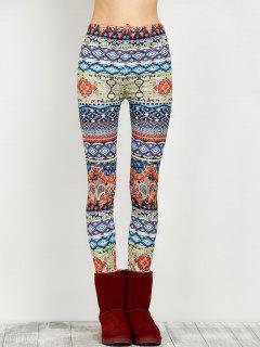 Elastic Waist Skinny Print Leggings - Floral M