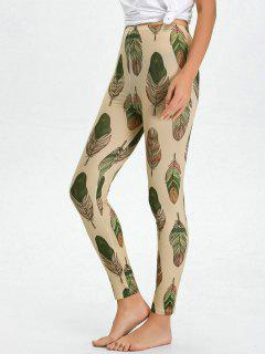 High Waist Skinny Leaf Print Leggings - Apricot L