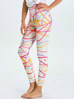 High Waist Skinny Graphic Leggings - White M