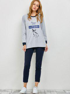 Puppy Print Sweatshirt And Leggings Lounge Set - Gray M