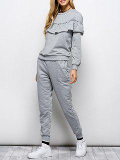 Flounced Sweatshirt And Jogger Pants - Gray M