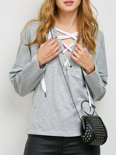 V Neck Lace Up Hoodie - Light Gray S