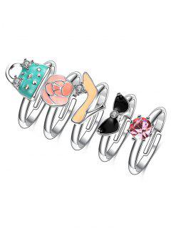Rhinestone Handbag Heels Rose Ring Set - Silver 7