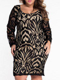 Scoop Neck Lace Patterned Plus Size Dress - Black L